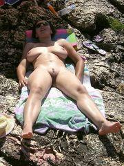 Hubby photographed his buxomy wifey..