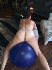 Naked housewife trains with phat ball