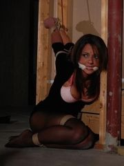 Corded up ball-gagged hand-job by..