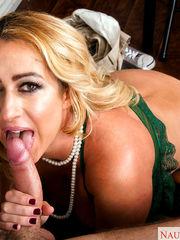 Mature blond lecturer Janna seducing..