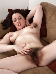 Mature slut with hairy labia and hairy..