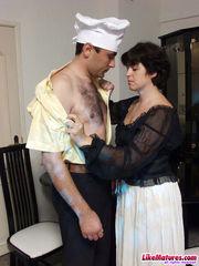 Dark haired mature wifey seduced cook
