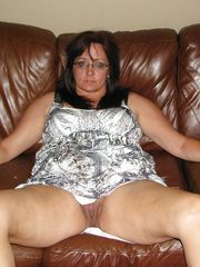 Naked wife's mounds and her shawed pussy.