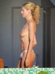 Heidi Klum Braless Bathing suit Candid..