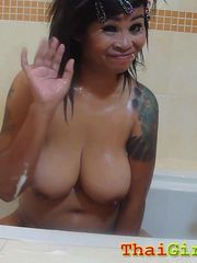 Big tits thai female busts her funbags..