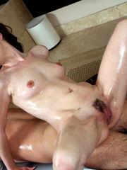 Wonderful Jessy greased hand-job leads..