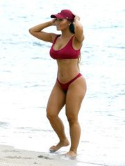 Daphne Joy in Red Bathing suit in Miami..