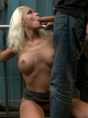 Marionette blond Sophie Logan with fat..