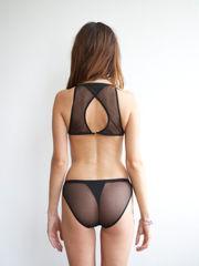 Dark-hued mesh lingerie set. Bralette..