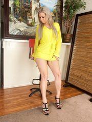 Curvaceous thighs ash-blonde honey..