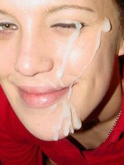 Gooey young lady facials Jizm splooged..