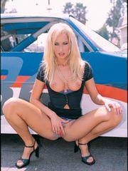 Steamy blonde Sophie Evans dribbles..