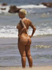 Amber Rose Topless Bikini And G-String..