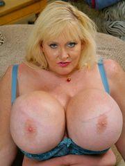Fashionable mega breasted mature..
