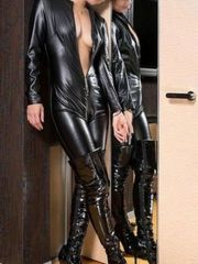 Japanese pvc catsuit and thigh shoes..