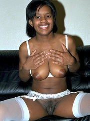 Smiley ebony young in milky tights..