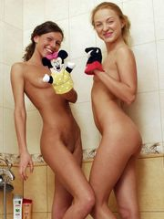 Two sweet young lady lesbos in a tub...