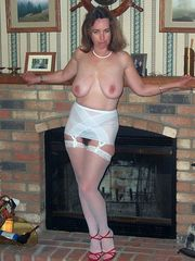Chesty Mummy in milky lingeries posing..