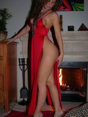 Naughty cougar in dark-hued underwear..