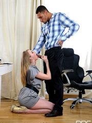 Clad blonde damsel Milana providing her..