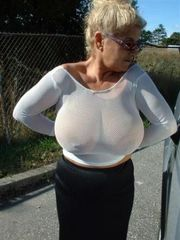 Old tramp with flabby  and sagging tits..