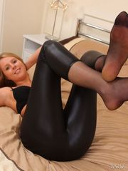 Beautiful chick in velvety stocking and..