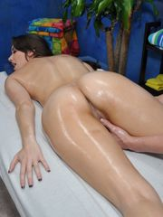 Messy young lady brown-haired with huge..