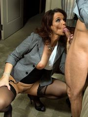 Mature teacher Syren Demer doing..