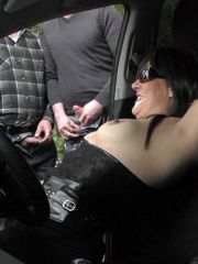 Bitchy wifey Marion gang-fucked in car..
