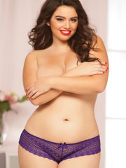 Purple Plus Size Perforated Lace..