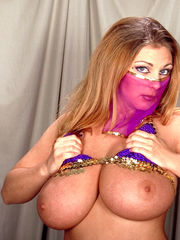 Steamy Cougar in harem doll costume..