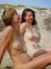 Mature naturist on the beach hidden..