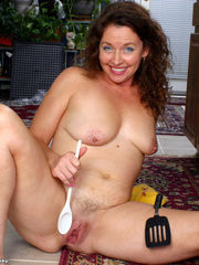 Mature Candy frolicking her hairy slit..