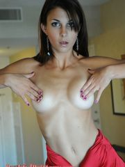 Shy Brittany in cool crimson sundress -..