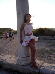 Under silk miniskirt of Russian beauty..