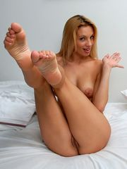 nude gals stretching legs, toes..