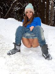 Torrid snow bunny droplets her denim to..