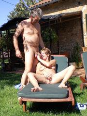 Mature wifey sunbathing bare husband..