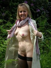 Slender grandma exhibitionist at home..