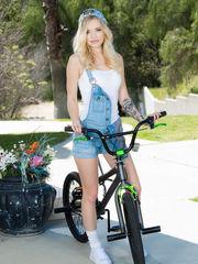 Epic cute blondie teen nude in bicycle