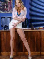 Nude office cooch in nylon